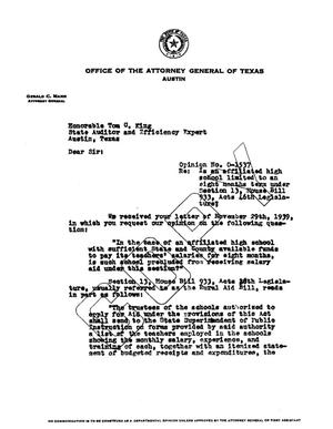 Primary view of object titled 'Texas Attorney General Opinion: O-1537'.