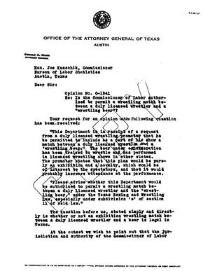 Primary view of object titled 'Texas Attorney General Opinion: O-1541'.