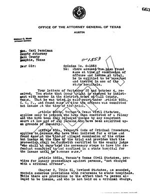 Primary view of object titled 'Texas Attorney General Opinion: O-1553'.