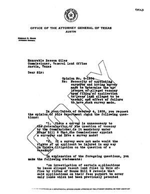 Primary view of object titled 'Texas Attorney General Opinion: O-1554'.