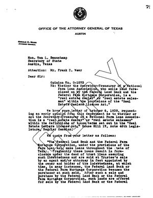 Primary view of object titled 'Texas Attorney General Opinion: O-1573'.
