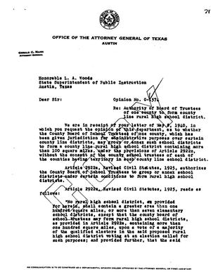 Primary view of object titled 'Texas Attorney General Opinion: O-1574'.