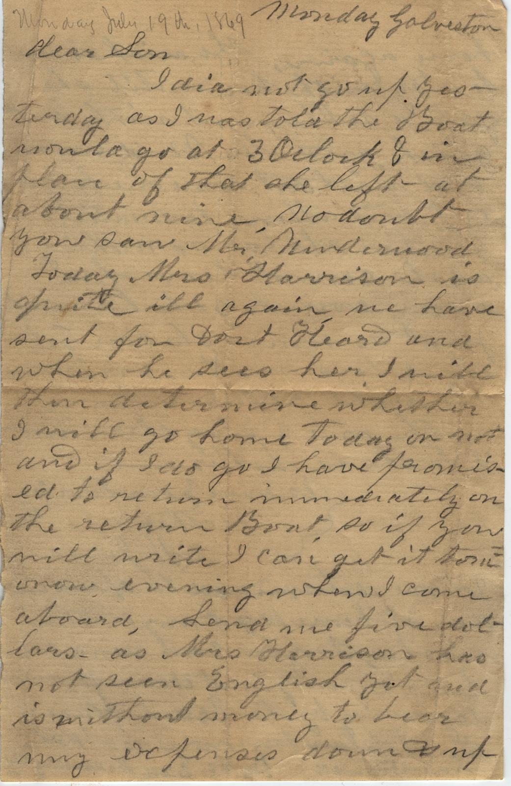 Letter to Cromwell Anson Jones, 19 July [1869]                                                                                                      [Sequence #]: 1 of 2