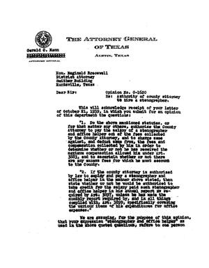 Primary view of object titled 'Texas Attorney General Opinion: O-1620'.