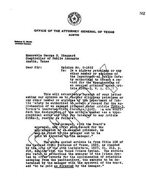 Primary view of object titled 'Texas Attorney General Opinion: O-1622'.