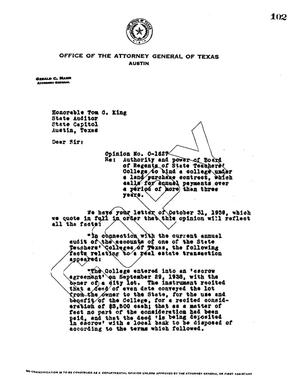 Primary view of object titled 'Texas Attorney General Opinion: O-1627'.