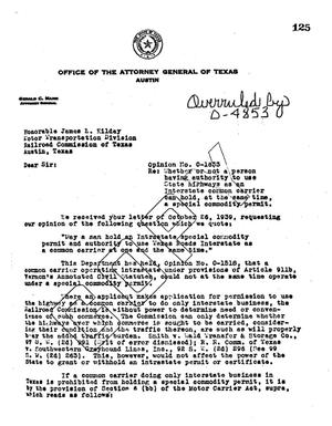 Primary view of object titled 'Texas Attorney General Opinion: O-1633'.
