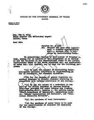 Primary view of object titled 'Texas Attorney General Opinion: O-1661'.