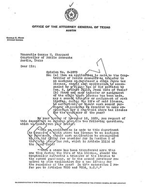 Primary view of object titled 'Texas Attorney General Opinion: O-1673'.