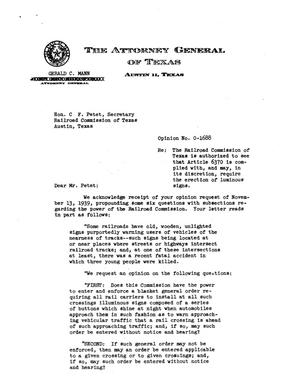 Primary view of object titled 'Texas Attorney General Opinion: O-1688'.