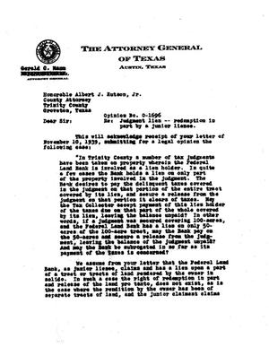 Primary view of object titled 'Texas Attorney General Opinion: O-1696'.