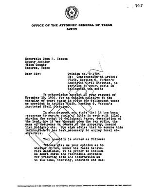 Primary view of object titled 'Texas Attorney General Opinion: O-1705'.