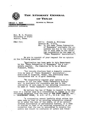 Primary view of object titled 'Texas Attorney General Opinion: O-1711'.