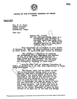 Primary view of object titled 'Texas Attorney General Opinion: O-1719'.