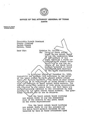 Primary view of object titled 'Texas Attorney General Opinion: O-1722'.