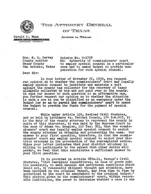 Primary view of object titled 'Texas Attorney General Opinion: O-1728'.