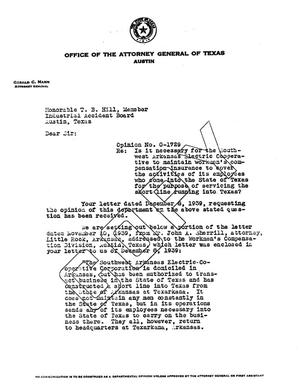 Primary view of object titled 'Texas Attorney General Opinion: O-1729'.