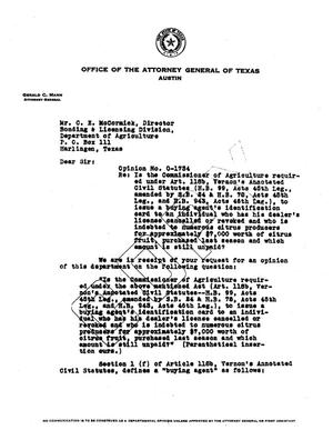 Primary view of object titled 'Texas Attorney General Opinion: O-1734'.