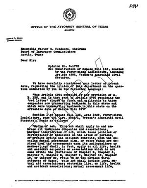 Primary view of object titled 'Texas Attorney General Opinion: O-1772'.