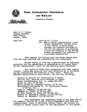Primary view of object titled 'Texas Attorney General Opinion: O-1779'.