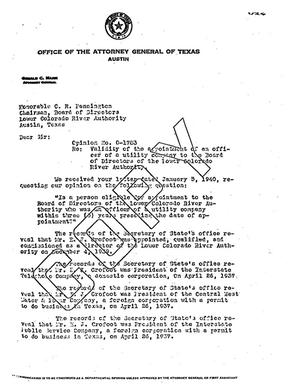 Primary view of object titled 'Texas Attorney General Opinion: O-1783'.