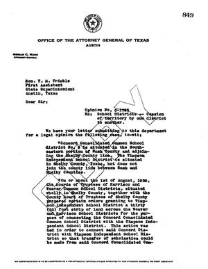 Primary view of object titled 'Texas Attorney General Opinion: O-1785'.