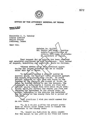Primary view of object titled 'Texas Attorney General Opinion: O-1792'.