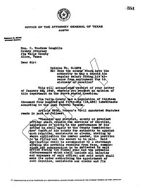 Primary view of object titled 'Texas Attorney General Opinion: O-1876'.