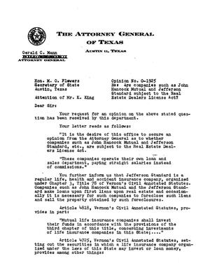 Primary view of object titled 'Texas Attorney General Opinion: O-1925'.