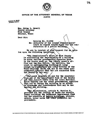 Primary view of object titled 'Texas Attorney General Opinion: O-1952'.