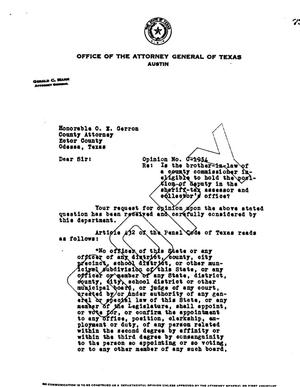 Primary view of object titled 'Texas Attorney General Opinion: O-1954'.