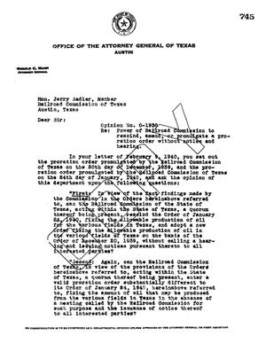 Primary view of object titled 'Texas Attorney General Opinion: O-1958'.