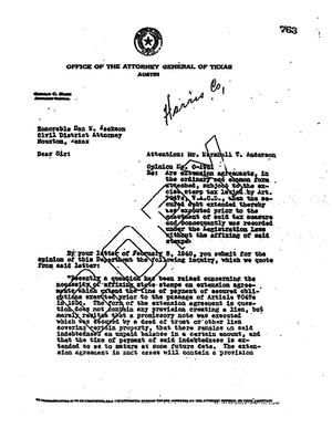 Primary view of object titled 'Texas Attorney General Opinion: O-1961'.