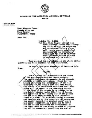 Primary view of object titled 'Texas Attorney General Opinion: O-1962'.