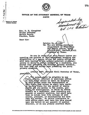 Primary view of object titled 'Texas Attorney General Opinion: O-1964'.