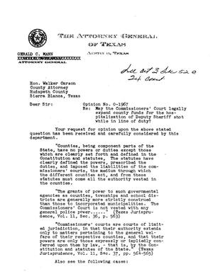 Primary view of object titled 'Texas Attorney General Opinion: O-1967'.
