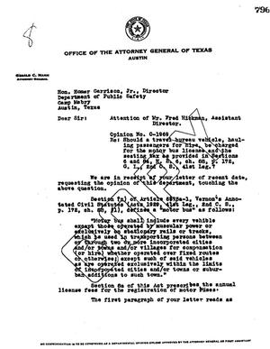 Primary view of object titled 'Texas Attorney General Opinion: O-1969'.