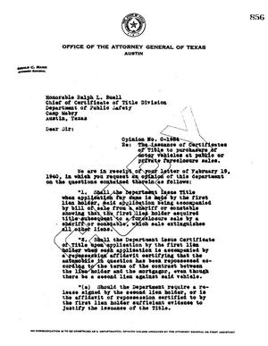 Primary view of object titled 'Texas Attorney General Opinion: O-1984'.