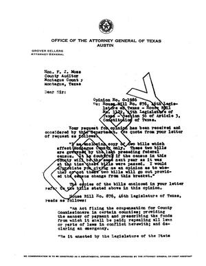 Primary view of object titled 'Texas Attorney General Opinion: O-1986'.