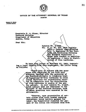 Primary view of object titled 'Texas Attorney General Opinion: O-1987'.