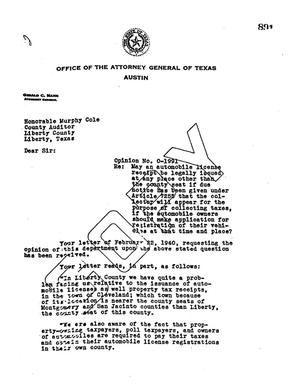 Primary view of object titled 'Texas Attorney General Opinion: O-1991'.