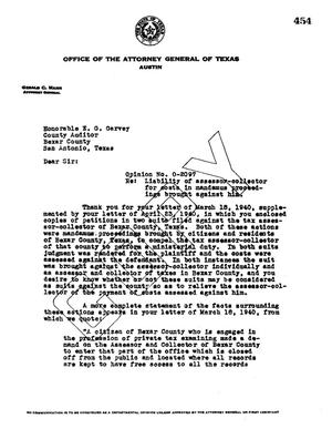 Primary view of object titled 'Texas Attorney General Opinion: O-2097'.