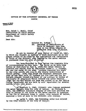 Primary view of object titled 'Texas Attorney General Opinion: O-2100'.