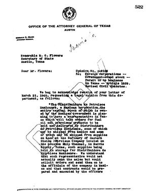 Primary view of object titled 'Texas Attorney General Opinion: O-2109'.