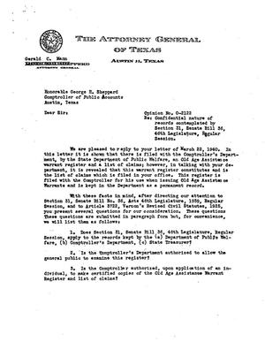 Primary view of object titled 'Texas Attorney General Opinion: O-2122'.