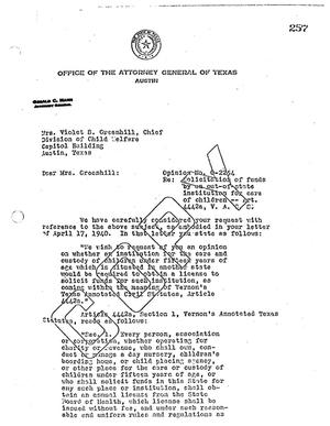 Primary view of object titled 'Texas Attorney General Opinion: O-2254'.