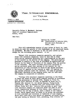 Primary view of object titled 'Texas Attorney General Opinion: O-2265'.