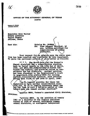 Primary view of object titled 'Texas Attorney General Opinion: O-2266'.