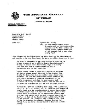 Primary view of object titled 'Texas Attorney General Opinion: O-2267'.