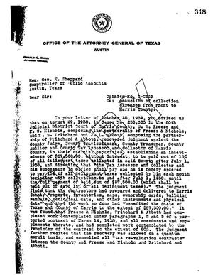 Primary view of object titled 'Texas Attorney General Opinion: O-2269'.